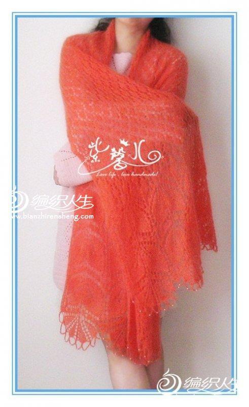 红绫 马海羊毛棒针编织志田围巾
