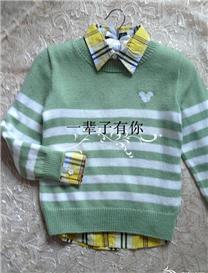 云宝宝棒针编织男童条纹套头衫