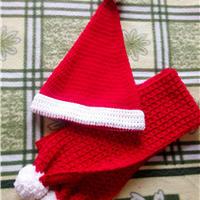 钩针圣诞帽及围巾套装(附云棉款)