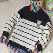 2-3岁男宝宝拼色条纹套头毛衣