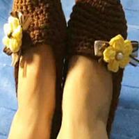 阳光般温暖的钩针地板鞋视频教程