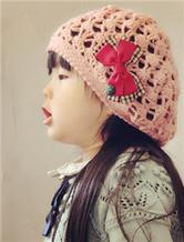 甜美可爱钩针女童贝蕾帽