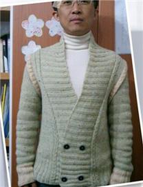 潮流绅士上衣之棒针男士时尚开衫