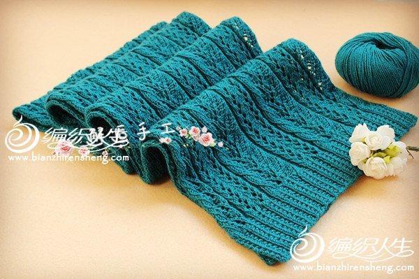 棒针涴碧无痕长围巾