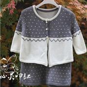 婴幼儿优雅大气棒针羊毛套裙(开衫+背心裙)
