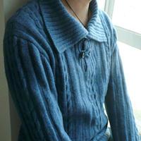 男士美丽诺羊毛牛仔蓝翻领毛衣