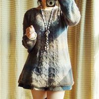 灯笼袖段染线棒针编织裙衣