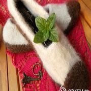 暖流 毡化全毛棒针室内鞋教程