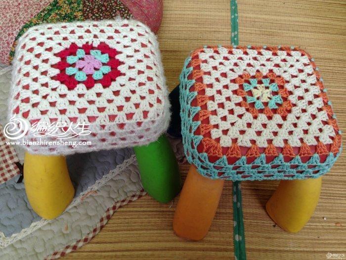 編織教程 溫暖小清新鉤針祖母方格凳套      寶貝們的塑料小凳子到了圖片