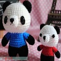 可爱钩针熊猫爸爸和熊猫宝宝 钩针玩偶图解教程