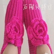简单易织棒针花朵地板袜教程