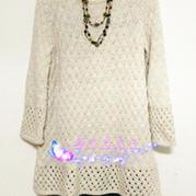 白素 棒针编织裙式衣