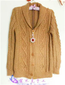 送母亲棒针编织青果领休闲毛衣