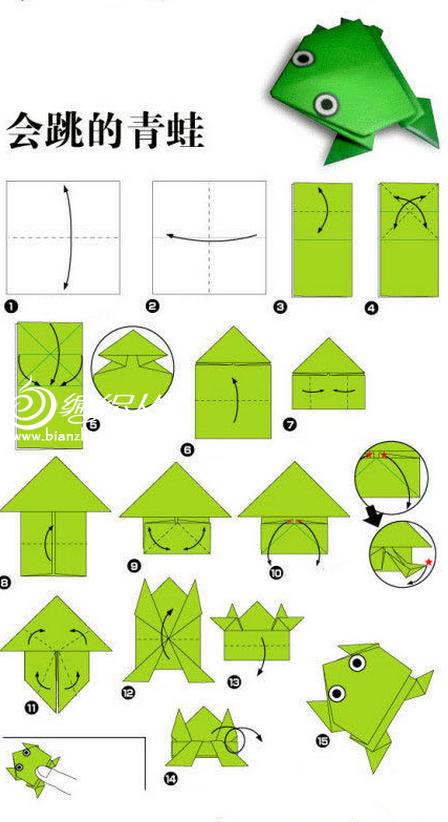 会跳青蛙折纸手工DIY教程