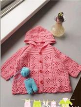 云棉婴幼儿粉色连帽钩针小外套