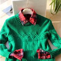 手编美丽诺羊毛儿童圆领毛衣