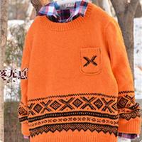 帅气阳光男孩橘色棒针提花毛衣
