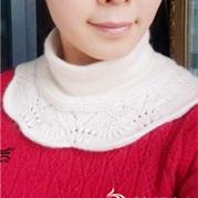 凤尾花棒针编织羊绒假高领围脖