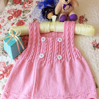 小蘿莉棒針編織裙式開衫小背心