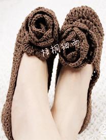 立体玫瑰钩针编织室内居家鞋