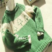 圣诞风格棒针男童插肩毛衣