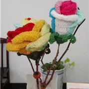 七彩玫瑰 钩针仿真花卉图解教程