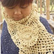 柠檬草的味道 钩针编织渔网钩花长围巾