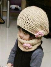 萌娃钩针小公主贝雷帽和温暖棒针脖套