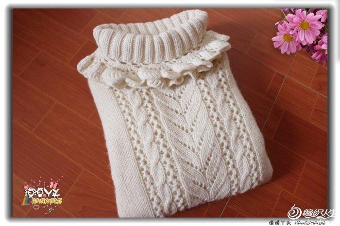 女童甜美花边领棒针高领毛衣-编织教程-编织人生