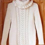 女童甜美花边领棒针高领毛衣