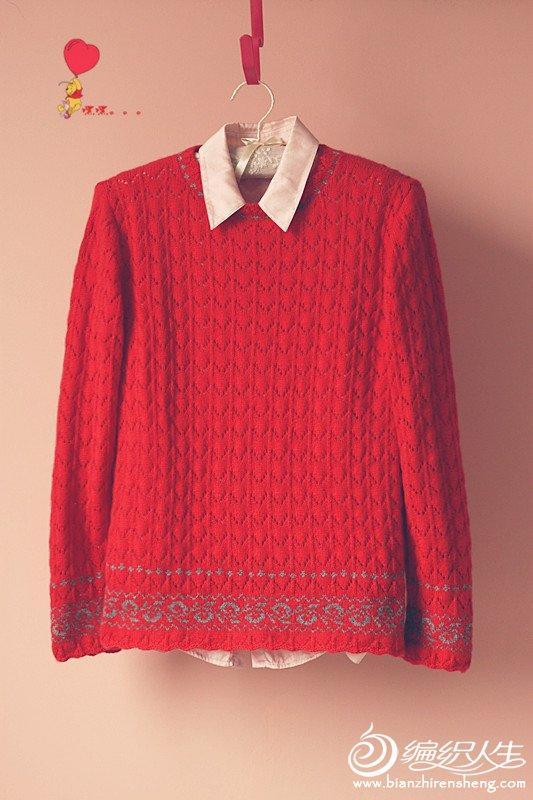 大红棒针编织银灰色提花毛衣