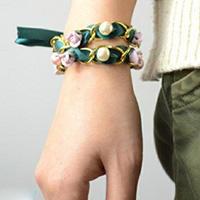 珍珠瓷器组合DIY手链教程