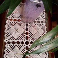 简单易钩百搭钩针编织方形拼花桌布
