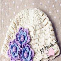 云宝宝可爱花朵钩针编织女童帽
