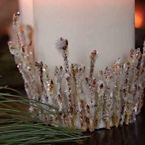 手工diy 废物利用干枯树枝制作冰晶烛台