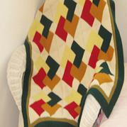 原创棒针编织方格毯
