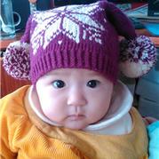 宝宝棒针提花雪花小丑帽