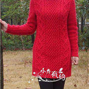 本命红 棒针中长款麻花裙衣