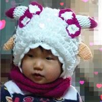 可爱美羊羊帽子 钩针萝卜丝针儿童帽