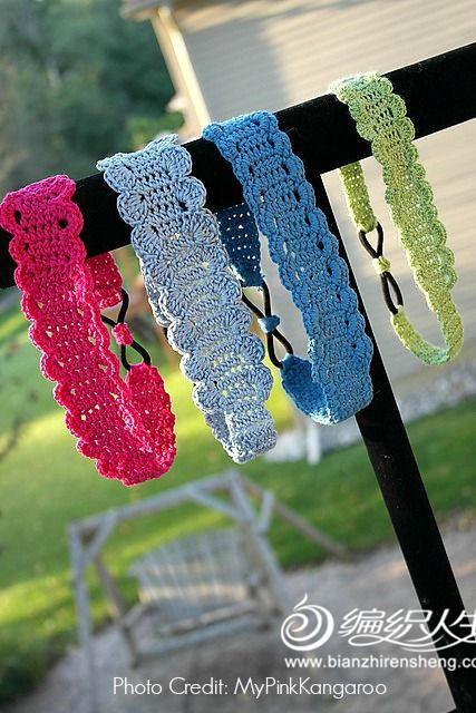 手编小饰物之钩编彩色蕾丝发带-编织教程-编织人生