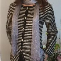 湽素 钩针简易版经典黑白千鸟格开衫外套