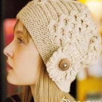 无檐花朵女帽 棒针蜂窝花型帽子