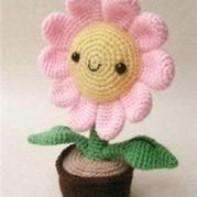 钩针植物花卉之太阳花盆花