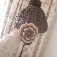 儿童钩针编织姐妹款绒球花朵护耳帽