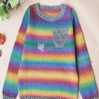 彩虹糖 男童棒针圆领长段套头毛衣