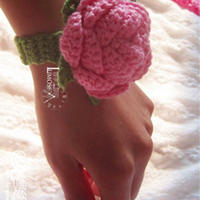 钩针编织玫瑰手腕花