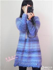 暮寒 棒针编织毛线打底裙长袖连衣裙