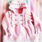 粉嫩公主裙式大衣 棒针儿童开衫外套