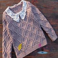 女童棒针编织可爱领花圆领毛衣