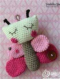 蝴蝶造型钩针编织玩偶玩具图解教程